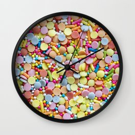 Rainbow Candy Sprinkles Art Wall Clock