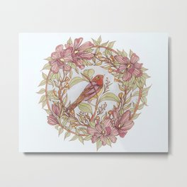 Magnolia And Marigold Wreath With Songbird Metal Print