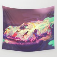 70s Wall Tapestries featuring 70s car by Psychedelic Astronaut