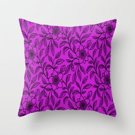 Vintage Lace Floral Dazzling Violet Throw Pillow
