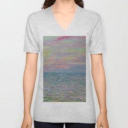 """Claude Monet """"Coucher de soleil à Pourville, pleine mer"""" Unisex V-Neck"""