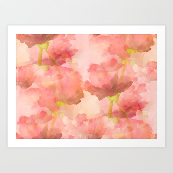Delicate Pink Watercolor Floral Abtract Art Print