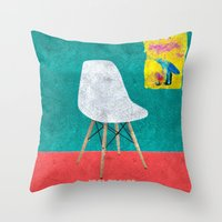 eames Throw Pillows featuring Eames Chair  by Xchange Art Studio