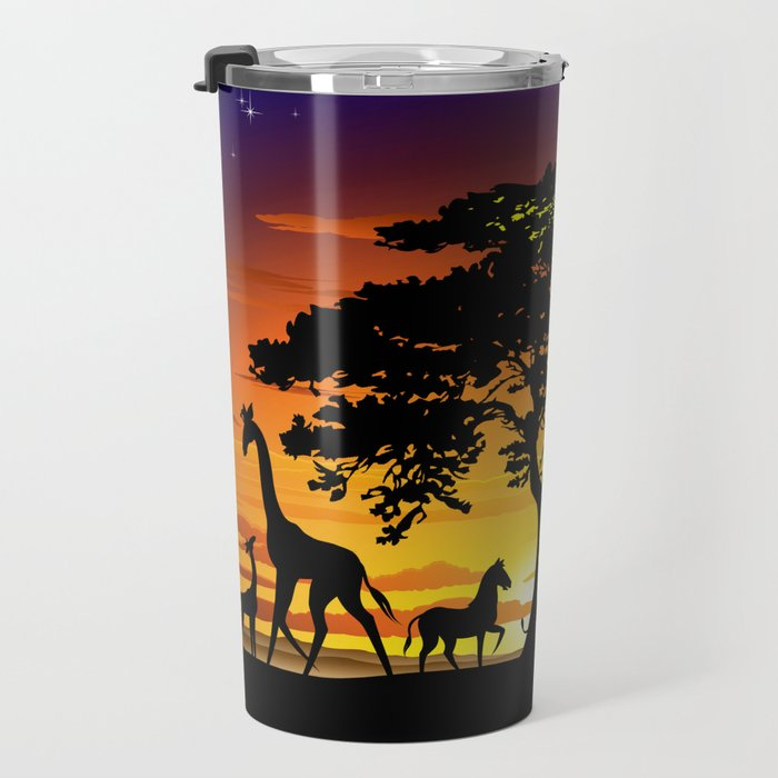 Wild Animals on African Savanna Sunset Travel Mug