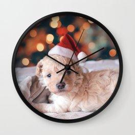 Santa Dog (Color) Wall Clock