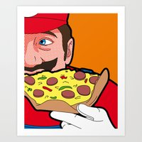 the secret life of heroes Art Prints featuring The secret Life of Heroes - MarioFood by Greg Guillemin