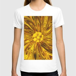 Abstract Lines Yellow  Flower T-shirt