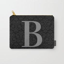 Modern Black Grey Damask Letter B Monogram Carry-All Pouch