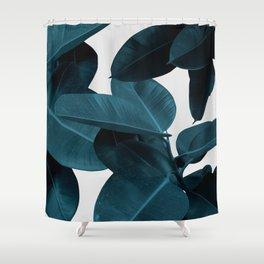 Indigo Plant Leaves Shower Curtain