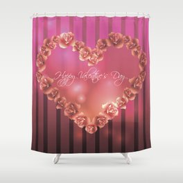 Illustration for Valentines day with heart shaped frame with roses Shower Curtain