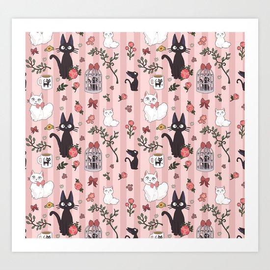 Jiji Cat Pattern Art Print