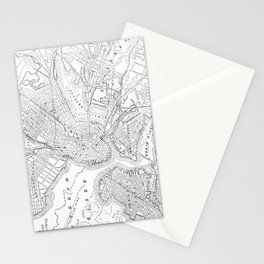 Vintage Map of Boston (1878) Stationery Cards