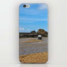 Boat at low tide - Bude, England iPhone Skin