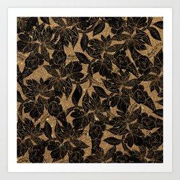 Elegant black faux gold glitter floral illustration Art Print