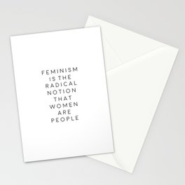 feminism is the radical notion that women are people,gift for her,office,gift for wife,quote art Stationery Cards