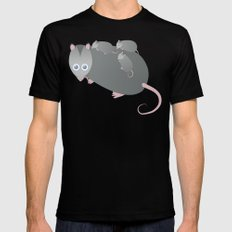Adorable Mommy Possum Mens Fitted Tee Black SMALL