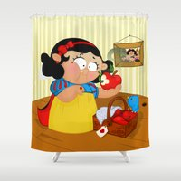 snow white Shower Curtains featuring Snow White (apple) by Alapapaju