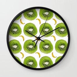 Watercolor print with bananas and kiwis for interior and original gift. Wall Clock