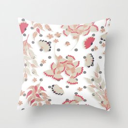Coral and Tan Botanical Flowers Throw Pillow