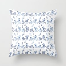 Bicycles spring cute white and navy pattern bike print by andrea lauren Throw Pillow
