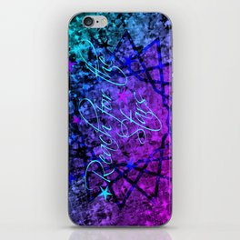 REACH FOR THE STARS Bold Midnight Blue Purple, Galactic Stars Space Abstract Fine Art Painting iPhone Skin