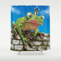 prince Shower Curtains featuring Frog Prince by Mark Hammermeister
