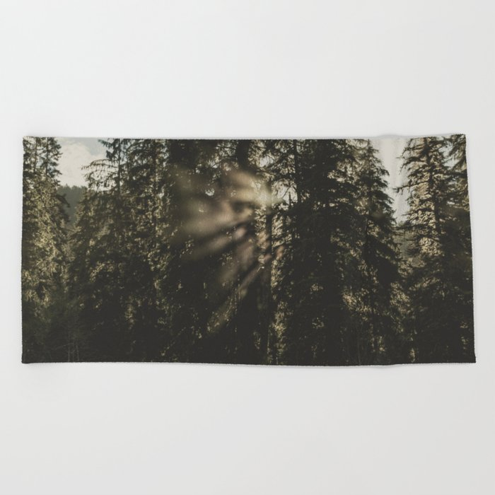 Sunset in the Woods - Nature Photography Beach Towel