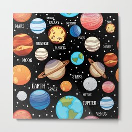 Space, Universe and planets themed seamless pattern Metal Print