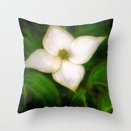 Single Dogwood Flower Natural Throw Pillow