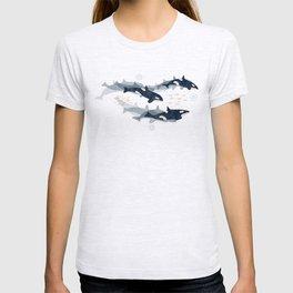 Orca in Motion / blue-gray ocean pattern T-shirt