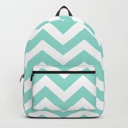 Pale robin egg blue - blue color - Zigzag Chevron Pattern Backpack