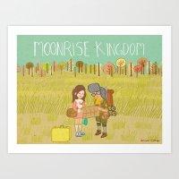 moonrise kingdom Art Prints featuring 'Moonrise Kingdom' by Nicola Colton illustration