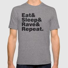 Eat & Sleep & Rave & Repeat. LARGE Mens Fitted Tee Tri-Grey