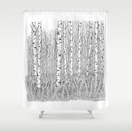 Birch Trees Black and White Illustration Shower Curtain