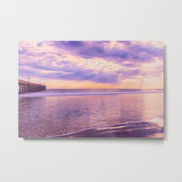 Solace by Sunset Cayucos pier and beach Metal Print