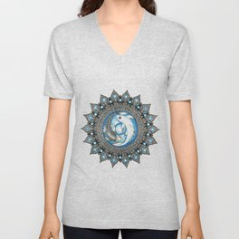 Yin and Yang Butterfly Koi Fish Mandala Unisex V-Neck
