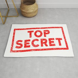 Top Secret Red Rubber Stamp Rug