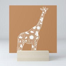Light Tan & White Floral Giraffe Outline Mini Art Print