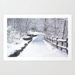 Snowfall at Brickworks on Christmas Day, 2020. XC Art Print