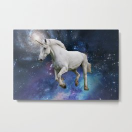 Unicorn and Space Metal Print