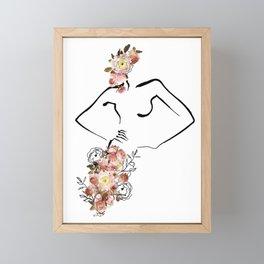 Goddess   Line Art and Floral Framed Mini Art Print