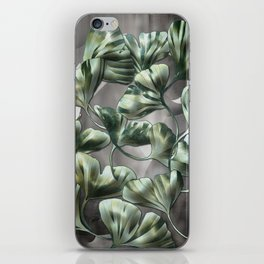 Ginko Leaves on Gray Abstract iPhone Skin