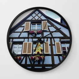 Half-timbered house of Alsacia, beautiful details in windows of this fairy tale homes Wall Clock
