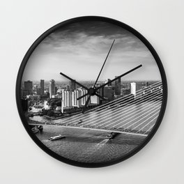 View over the Erasmusbrug in Rotterdam, The Netherlands Wall Clock