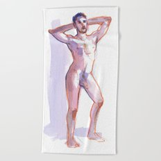 COLBY, Nude Male by Frank-Joseph Beach Towel