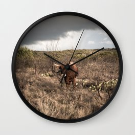 Stare Down - A Texas Bull in the Mesquite and Cactus Wall Clock