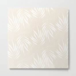 Ash Three Leave Scandinavian Pattern Metal Print