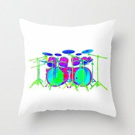 Colorful Drum Kit Throw Pillow