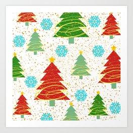 Christmas trees and snowflakes Art Print