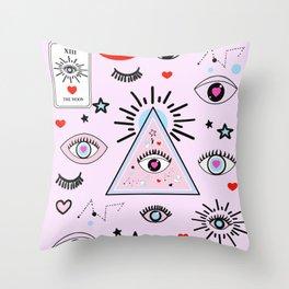 Evil Magic ( Pink ) Throw Pillow